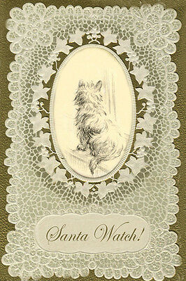 Cairn Terrier Dog  Watchin for Santa Vintage ~ LARGE New Christmas Note Cards