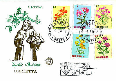 San Marino 1971 Set Of All 5 Flowers On Illustrated Unaddressed First Day Cover