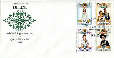BELIZE 1987 QUEEN 40th WEDDING ANNIVERSARY SET OF ALL 4 ON FIRST DAY COVER