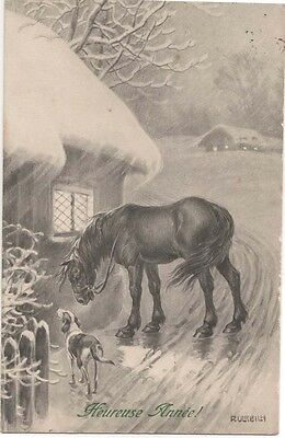 ANTIQUE Foxhound Dog & Horse Signed Christmas? Postcard Postmarked 1913