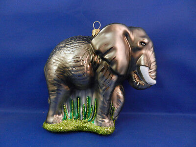 African Elephant Blown Glass Christmas Tree Ornament Zoo Animal Poland 011220