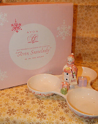 Vintage Avon Snowlady Triple Dish Presidents Club Holiday Collection New #093