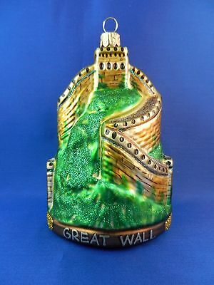 Great Wall Of China Blown Glass Christmas Tree Ornament Travel 011105