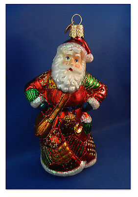Santa Patchwork Old World Christmas Ornament Quilt Blown GlassTree NWT 40184