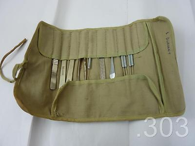 WWII Period British Medical / Dentist's Dental Instrument Roll & Contents