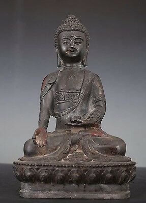 "Large Rare Old Chinese Bronze Buddha Seated Statue ""XuanDe"" Mark AA038"