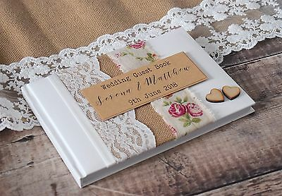 Vintage Personalised Wedding Guest Book With Rustic Rose Burlap & Wooden Hearts