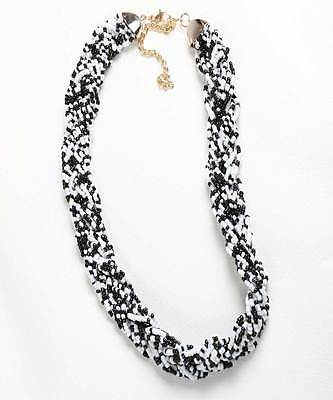 Handmade African Black and White Interwoven Beaded Necklace