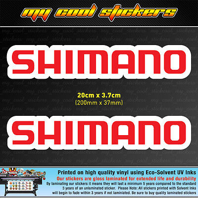 2 x Shimano 20cm Vinyl Sticker Decal, for Boat 4X4 Car Tacklebox Esky Fishing