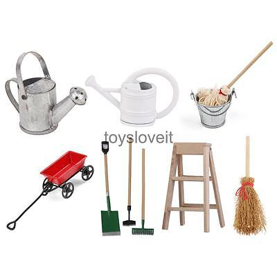 1:12 Miniatures Watering Can Mop Broom Cleaning Tools for Dollhouse Fairy Garden
