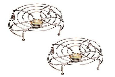 2 X Single Food Warmer Chafing Chrome Plate Burner With 2 Free Tealight Candles