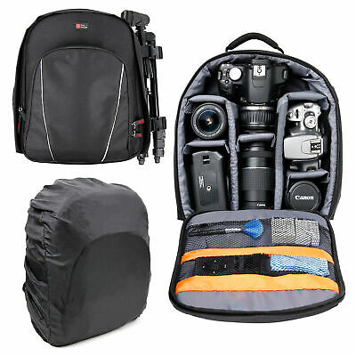 Black DSLR SLR Camera Rucksack Case Bag Backpack For Canon Nikon Sony Olympus
