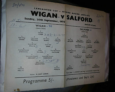 Wigan v Salford 20th September 1970 Lancashire Cup 2nd Rd Replay @ Central Park