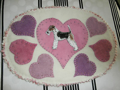 WIRE HAIRED FOX TERRIER WOOL OVAL FLAT MAT-PENNY RUG w/ VALENTINE HEARTS & BEADS