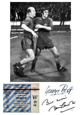 Manchester United 1968 European Cup George Best Bobby Charlton Signed Reprint