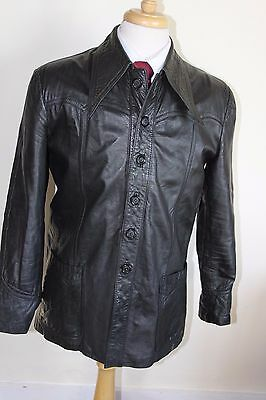 vintage MENS 70S RETRO BLACK SOFT LEATHER SAFARI JACKET COAT BY SZ 44