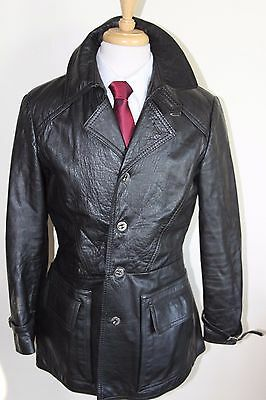 vintage MENS 70S RETRO BLACK SOFT LEATHER SAFARI JACKET COAT BY SZ 40