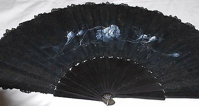 "Beautiful Large Size Antique Victorian Hand Painted Hand Fan Ebony Lace 31""x16"""