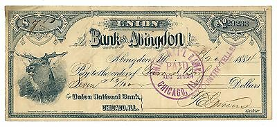 1884 Union Bank of Abingdon Check - Abingdon, ILL.