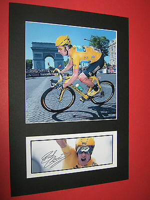 Bradley Wiggins Tour De France Cycling  A4 Photo Mount Signed (Pre-Printed)