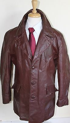 vintage MENS 70S RETRO BROWN REAL LEATHER SAFARI JACKET COAT BY SZ 46