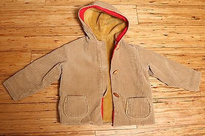 Vintage Fall Jacket Corduroy and Fur Lined Boys Size 7-8 Cat Applique on back