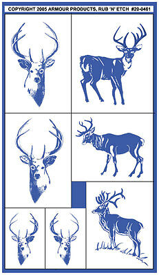 Armour Rub 'n' Etch Glass Etching Stencil Set  ~ Bucks Doe Whitetail Deer