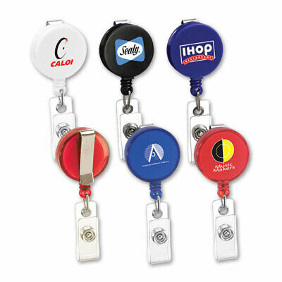 RETRACTABLE BADGE / ID HOLDERS - 200 quantity - Custom Printed with Your Logo