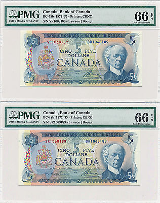 Bank of Canada 2 in a Row 5 Dollars 1972 BC-48b - PMG GEM UNC 66 EPQ