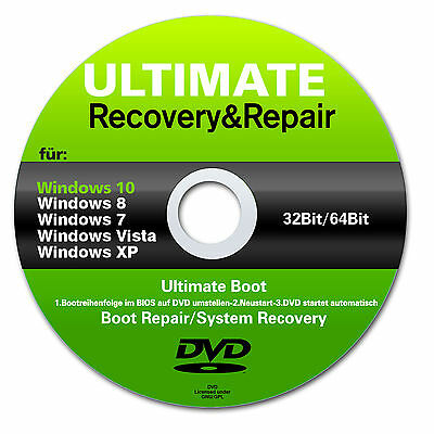 Recovery  Repair CD DVD für Windows 10  8  Vista XP Acer HP Lenovo em