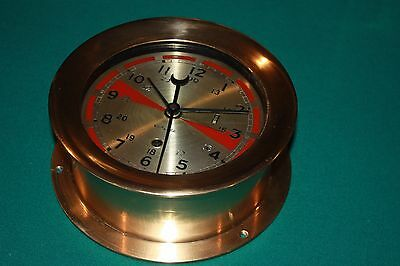 Chelsea 6 Inch Radio room Clock in RED Brass