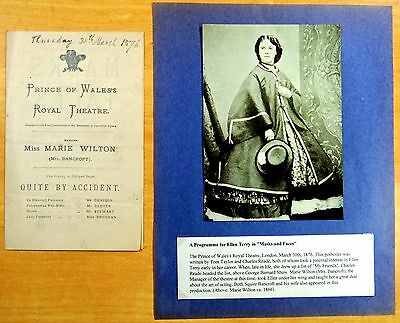 Miss Ellen Terry in Masks and Faces Theatre Program March 30, 1876 Marie Wilton