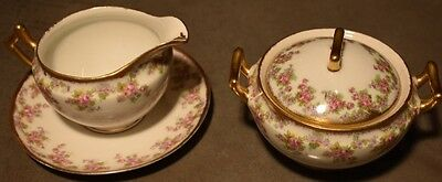 Limoges Bridal Wreath Elite Works France Cream and plate and Covered Sugar Bowl