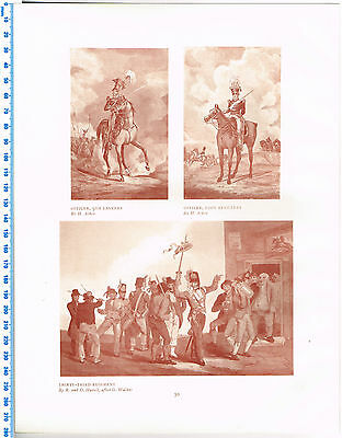 Officers 9th Lancers, Foot Artillery & 33rd Reg Antique Military Picture Print