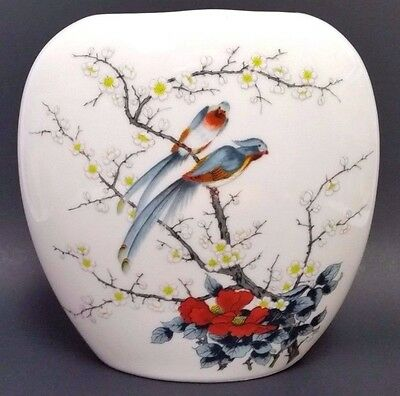 """Asian 7"""" Vase Decorated With Birds In Flowering Tree Japanese Bud Jay Home Decor"""