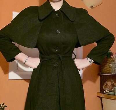 Vintage Long Green Winter Coat Cape Small Tweed 1970's