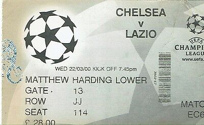 Chelsea v Lazio - Champions League - 1999/2000 - Used Ticket