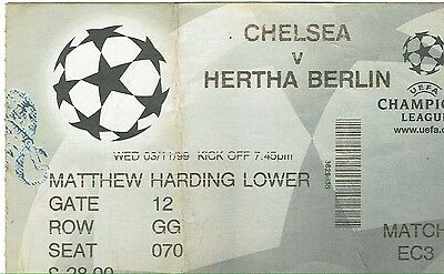 Chelsea v Hertha Berlin - Champions League - 1999/2000 - Used Ticket