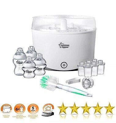 NEW Tommee Tippee Closer To Nature Electric Steriliser Starter Set 4x Bottle Kit