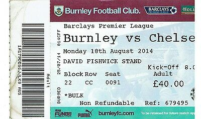 Burnley v Chelsea - Premier League - 2014/15 - Used Ticket