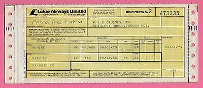 Old Airline Passenger Ticket - Laker Airways - P&O Cruises: Venice Gatwick 1979