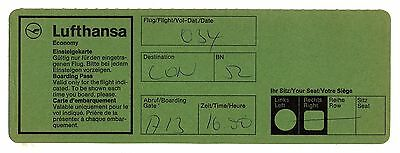 Old Airline Boarding Pass - Lufthansa: German Airlines - Flight 034 London 1990s