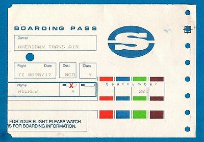 Old Airline Boarding Pass - Servisair - American Trans Air: Orlando 1995