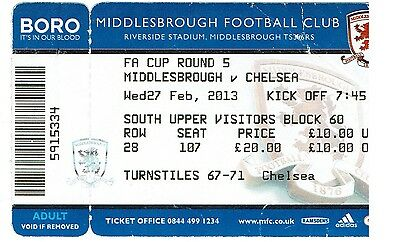 Middlesbrough v Chelsea - FA Cup Round 5 - 2012/13 - Used Ticket