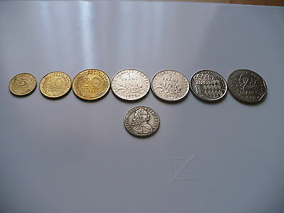 Collection 8 pièces 5, 10, 20 centimes, 1, 2 francs, France, Monaco, tu domine