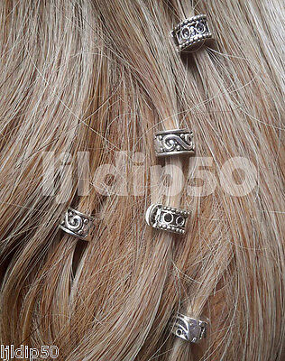 Silver Clip On Hair Jewellery Beads Clickers Hippy Grunge Gypsy Ethnic Festival