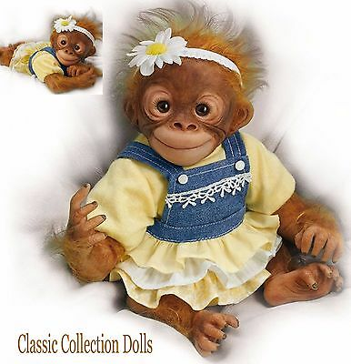 "Ashton Drake ""DARLING DAISY""- LIFELIKE 12"" BABY MONKEY DOLL- NEW- IN STOCK NOW!"