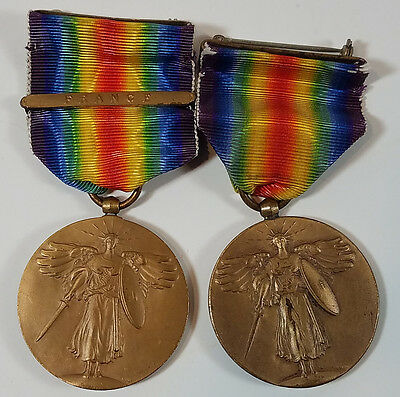 Antique WWI Victory Medal Set of 2 France Bar Military