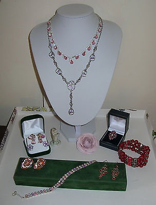 Mixed Pink & Red Jewellery Lot Heart Earrings Necklaces Bracelets Crystal Ring++