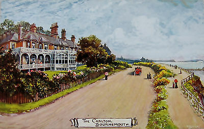 Early Colour Postcard, by Jotter, of The Carlton, Bournemouth.